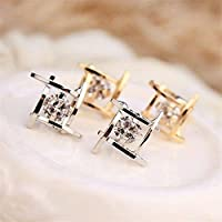 PromsupFashion Women Lovely Elegant Crystal Rhinestone Square Ear Stud Earrings Hot (Silver)