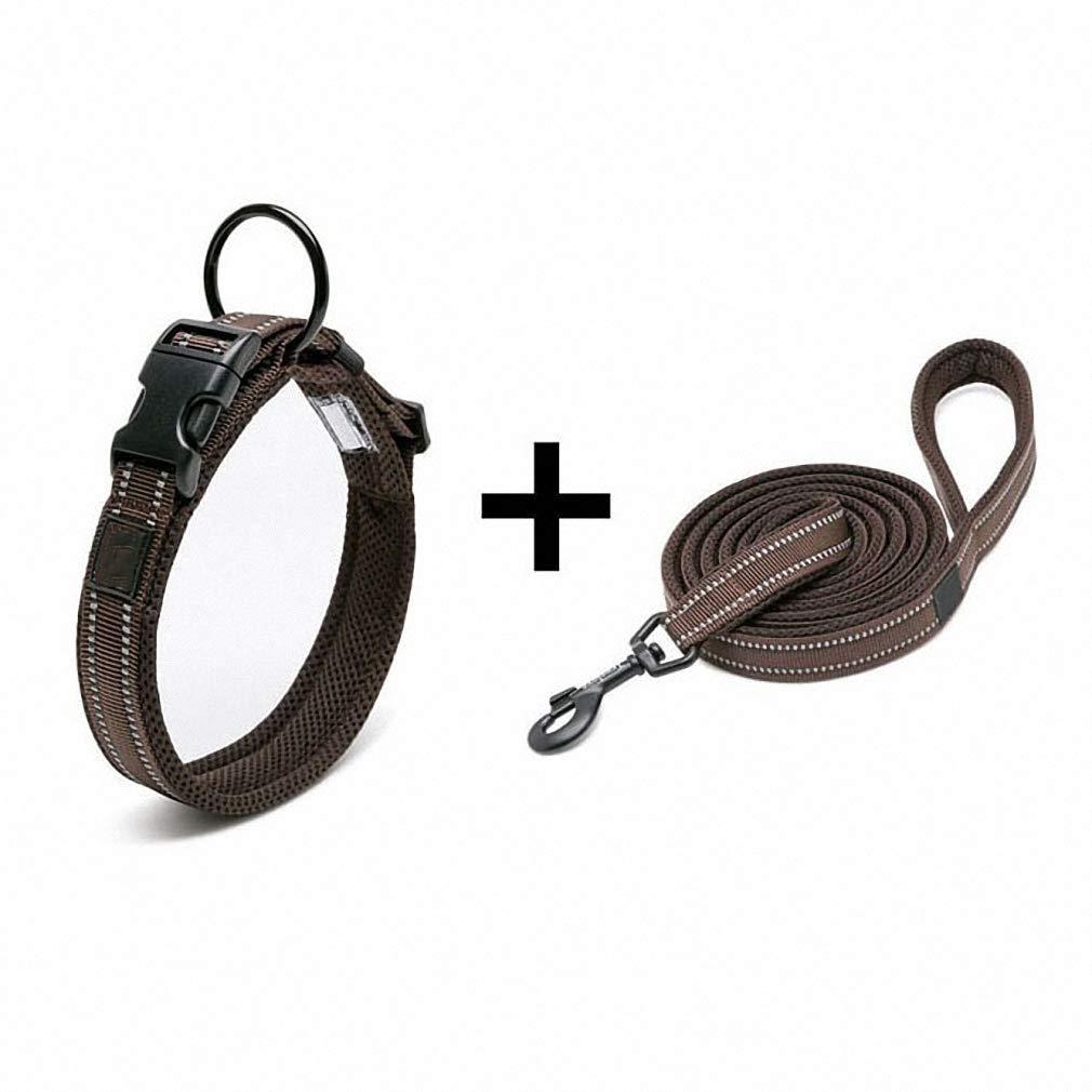 Brown XS 3035cm neckPet Collar Pet Dog Collar and Leash Set Nylon 3M Reflective Adjustable Collars Leads Pug Bulldog German Shepherd Belt Pet Supplies bluee XXS 2830cm Neck