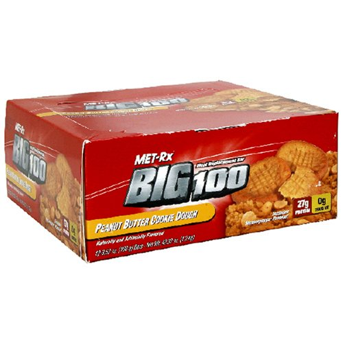 Met-Rx Big 100 Meal Replacement Bar, Peanut Butter Cookie Dough, 3.52-Ounce Bars (Pack of 12)