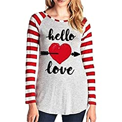Women Blouse,Haoricu Fall Fashion Women Love Letter Stripe Print Fashion Long Sleeve Casual T shirt (Asian Size:XL, Gray)