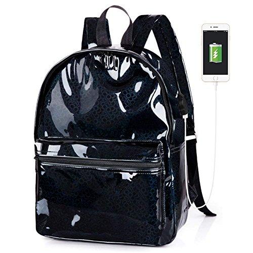 Oops Style Teens Black Hologram Laser PU Leather School Backpack Daypack