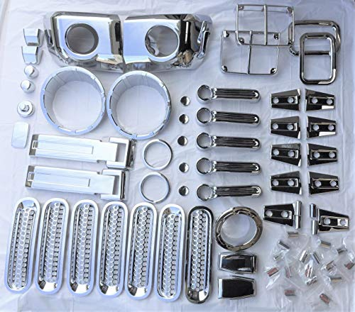 (Parts Port 07-17 Jeep Wrangler Outside Chrome Decorative Complete Set (77 Pieces) Self-Adhesive)