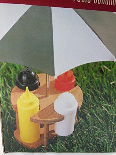 Picnic Table Patio Condiment Caddy Set Salt Pepper Ketchup Mustard with Umbrella