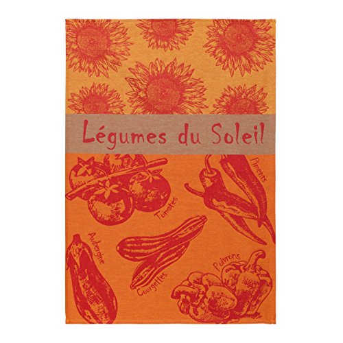 Coucke French Cotton Jacquard Towel French Produce Collection, Summer Vegetables, 20-Inches by 30-Inches, Orange and Red