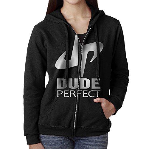 BMIYTH Women's Dude Perfect DP Logo Full Zip Hooded Sweatshirt