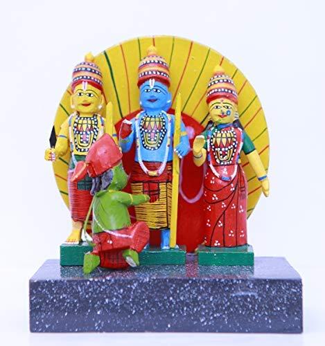 Andhra Hand Crafts Kondapalli Wood Handmade Rama Parivar With Cow And Flute, 11X8.5X5, Multicolour