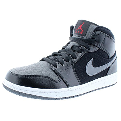 Nike Air Jordan 1 Mid PREM Mens Hi Top Basketball Trainers 852542 Sneakers Shoes (US 10, black gym red dark grey white 001)