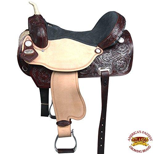 HILASON 17″ Western Horse Saddle American Leather Flex Trail Barrel Racing T204