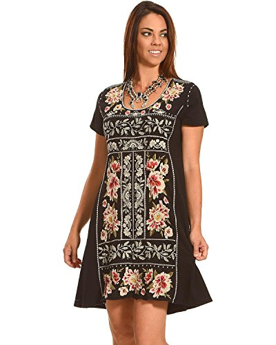 Johnny Was Women's Christine Woven Short Sleeve Panel Dress Black Large by Johnny Was
