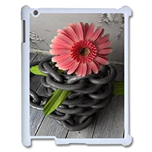 3D Pharrel Chain IPad 2,3,4 2D Cases flower with chain, Funny Design Chain, {White}