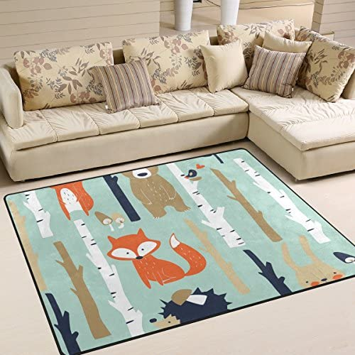 OPRINT Fox Bear Hedgehog Tree Area Rugs kids Children Play Solid Home Decorator Floor Mat Non-Slip Carpet 80 x 58 Inch