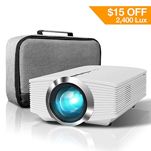 ELEPHAS Mini Projector, 2400 LUX Home Theater LED Video Projector Support 1080P with AV USB Micro SD Card HDMI for Movie Night Support PC Laptop Smartphone, White