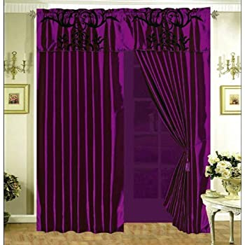Amazon Com Grand Linen 3 Layer Modern Black Purple Flock