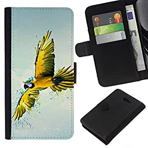 EJOY---La carpeta del tirón la caja de cuero de alta calidad de la PU Caso protector / Sony Xperia M2 / --Amarilla del arte del loro