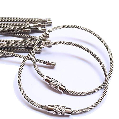 e Keychain for Keys Luggage Tags,20 Pack/5.9 inch Stainless Steel Wire Keychain Cable EDC Tool Rope Survival Cable Key Ring Loop for Hanging Luggage Tags or ID Tags ()