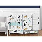 Sweet-Jojo-Designs-Turquoise-and-Navy-Blue-Safari-Animal-Baby-or-Toddler-Fitted-Crib-Sheet-for-Mod-Jungle-Collection-by