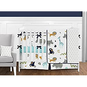 Sweet Jojo Designs Turquoise and Navy Blue Safari Animal Baby Kid Clothes Laundry Hamper for Mod Jungle Collection by