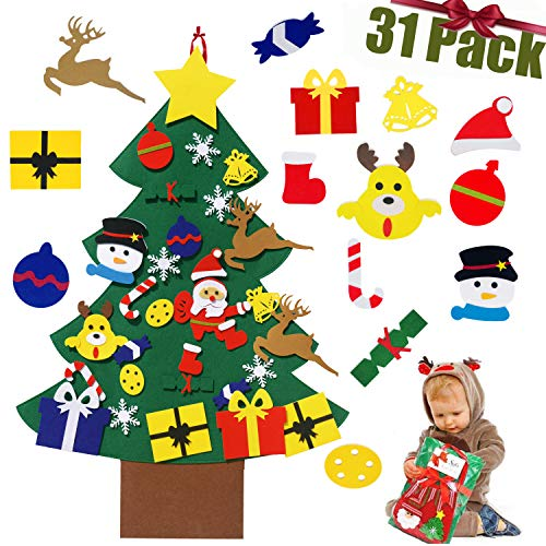 ZPYZ Felt Christmas Tree for Kids, 3.2FT DIY Christmas Tree Sets with 30 Detachable Christmas Ornaments, Xmas Gifts, New Year Home Door Wall Hanging Decorations Christmas Decor