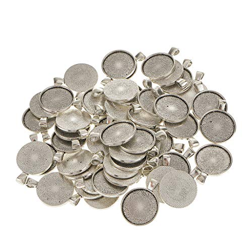50pcs Fit 25mm Cameo Cabochon Antique Silver Round Base Setting DIY Charms Necklace Jewelry Crafting Key Chain Bracelet Pendants Accessories Best
