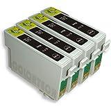 T0891 - 4x Haute Capacité Cartouches d'encre Compatibles - Noir- Avec Puce - à utiliser avec SX200 SX105 SX115 SX100 DX4050 SX205 SX415 SX215 SX400 D92 DX4450 DX6000 D120 DX4400 DX8400 DX8450 DX9400F DX7400 D & DX Range S21 SX510W SX515W SX110 SX210 DX6050EN BX300F Wifi SX610FW BX610FW SX410 DX8000 SX600FW