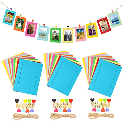 LEJHOME Paper Picture Frames, 30pcs Photo Frames for 4x6in Photo, Multi Color 30 Clothespins Photo Hanging Display Frames with 3 Ropes for Home and Wedding Decoration ()