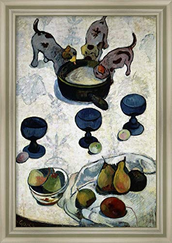 (Framed Canvas Wall Art Print | Home Wall Decor Canvas Art | Still Life with Three Dogs, Nature Morte aux Trois Chiots by Paul Gauguin | Modern Contemporary Decor | Stretched Canvas Prints)