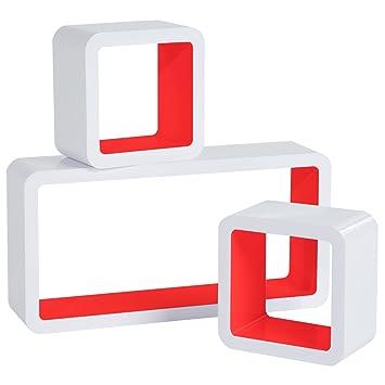 woltu floating shelves red cube floating wall shelves set of 3 cd rh amazon co uk IKEA Cube Shelves Walmart Cube Shelves