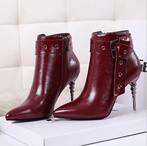 Confortable l'usure à chaussures Couleur talon à Bottes Noir résistant bottes Martin Stiletto Bottes 34 taille sexy pointe Rouge à doux pointue femme JAZS® hiver CO4Fqw