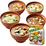 Amano Foods Freeze-dried Low-sodium Miso Soup Five Assorted Set 25 Meals (5items X5 Set 1cs) (Instant Miso Soup)