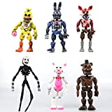 Jubasix Set of 6 pcs FNAF Action Figures Toys Dolls Gifts Cake Toppers, 6 inches