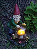Solar Hiking Gnome Statue Garden Ornament Outdoor Resin (Mystic)