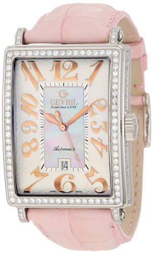 Gevril Women's 6208RV.1 Pink Mother-of-Pearl Genuine Alligator Strap Watch