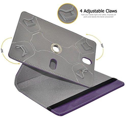 Aventus (White) 10.1 Tablet 360 Grad drehende lederne Schwenker-Standplatz-Fall-Abdeckung mit Schreibfeder eingeschlossen für LG X760 Purple