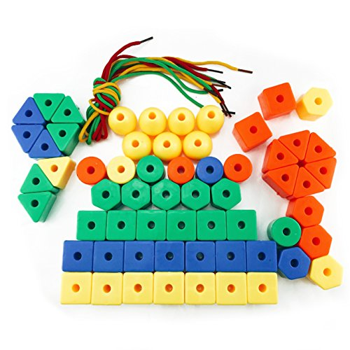 Nextnol 60 PCS,Stringing Beads Set?Jumbo Lacing Beads Toys?6 Strings & Stringing Beads Set Preschool Fine Motor Skills Toys for Occupational Therapy and Autism?Jumbo Primary Stringing Beads