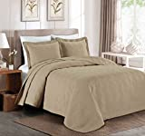Chezmoi Collection Kingston 3-piece Oversized Bedspread Coverlet Set (King, Khaki)