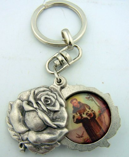 Religious Gifts Silver Tone Saint Francis with St Anthony Sliding Rosebud Medal Key Chain, 1 3/4 Inch