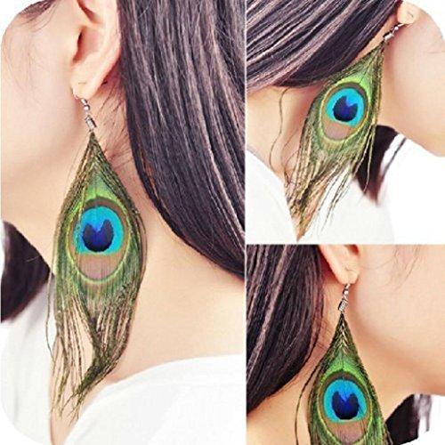 2017 Hot Earrings Gift! AMA(TM) Women Fashion BOHO Style Peacock Feather Silver Hook Dangle Earrings Eardrop (Green)