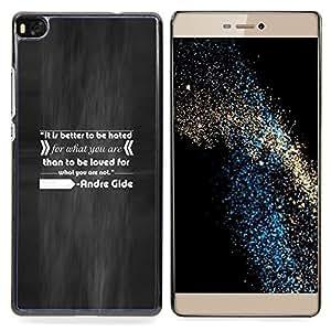 """Qstar Arte & diseño plástico duro Fundas Cover Cubre Hard Case Cover para Huawei Ascend P8 (Not for P8 Lite) (Andr ?? Gide Cita inspiradora de amor y odio Do What"""")"""