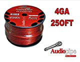 4 GA RED FLEXIBLE POWER PRIMARY GROUND WIRE 250FT COPPER MIX CABLE CAR