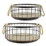 Stonebriar 2pc Round Stackable Metal Wire and Wood Basket Set with Rope Handles, Rustic Decor for Home Storage, Decorative Serving Baskets for Weddings, Birthdays, and Holiday Parties