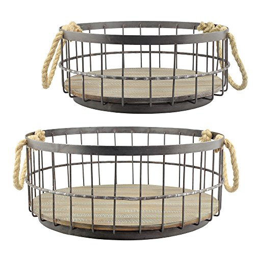 Stonebriar 2pc Round Stackable Metal Wire and Wood Basket Set with Rope Handles, Rustic Decor for Home Storage, Decorative Serving Baskets for Weddings, Birthdays, and Holiday Parties ()