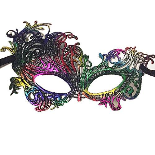 Colorful House Womens Masquerade Halloween Party Lace Eye Mask(Phoenxi, (Girls Masquerade Masks)