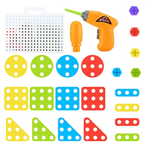 8912fdea8b5f47 ANNA SHOP 146 Stück Schrauben Puzzle Mosaik Steckspiel Spielzeug Steckspiel  für Kinder ab 2 Jahren