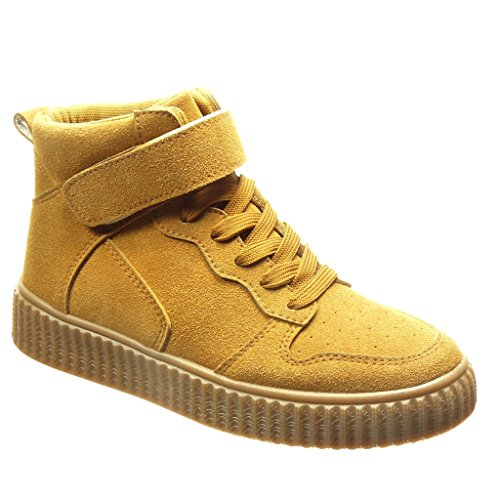 Angkorly - Chaussure Mode Baskets montante plateforme femme Talon plat 3 CM - Camel