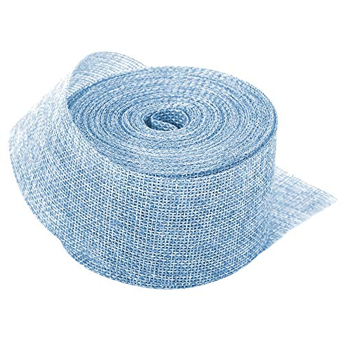 - Light Blue Linenette Jute Burlap Ribbon Roll 2