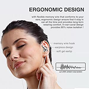 ROCUSO Noise-Isolating Musician's In Ear Monitor, Wired Over Ear Stereo Bass Headphones with Microphone, Waterproof Sport Earbuds for Running, Jogging, Earphones for Iphone, Samsung, Android, Clear
