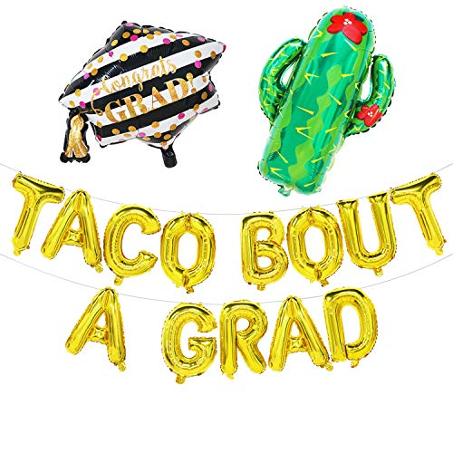 Taco Bout a Grad Balloons - Taco Bout a Grad Banner with Cactus and Graduation Cap Balloon - Taco Graduation Party Decorations