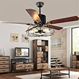 BAYCHEER HL449148 Industrial Wrought Iron Style Fan Semi Flush Ceiling Light Hanging Lamp with Fans and cage for Indoor Bar Warehouse Hallway Use 5 E26 Bulbs through remote control