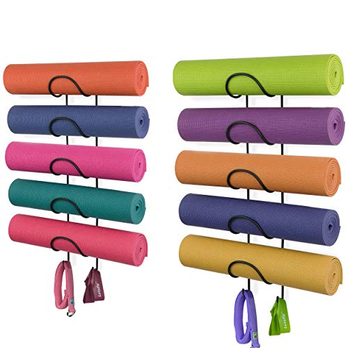 Wallniture Yoga Mat Holder Wall Mount with 2 Hooks for Hanging Yoga Strap, Resistance Bands, 5-Sectional Set of 2, Metal…