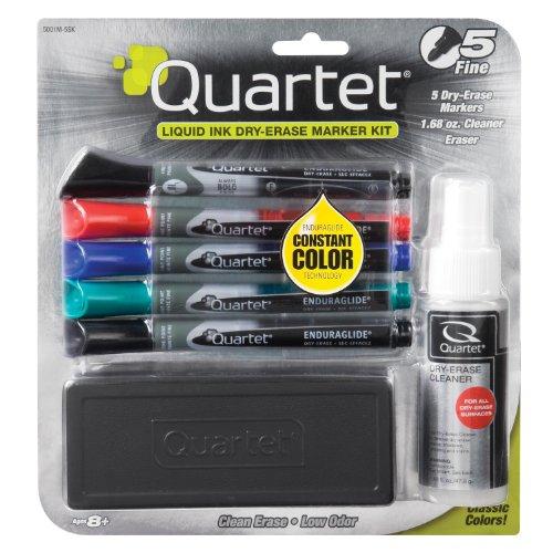 quartet-dry-erase-markers-accessory-kit-fine-tip-enduraglide-assorted-colors-5-pack-5001m-5sk